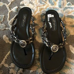 Brighton black wedge sandals